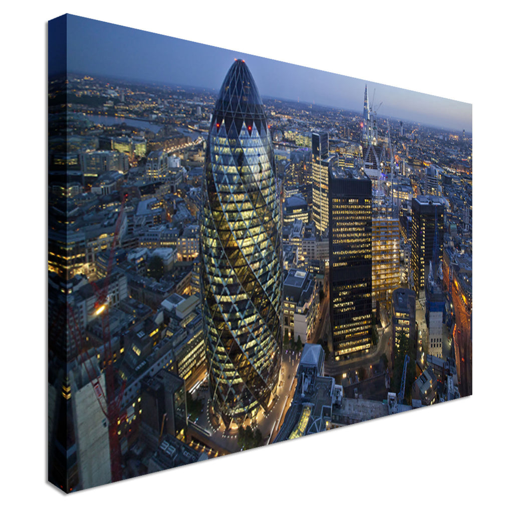 City of London Skyline At Sunset - Gherkin  Canvas Wall Art Picture Print