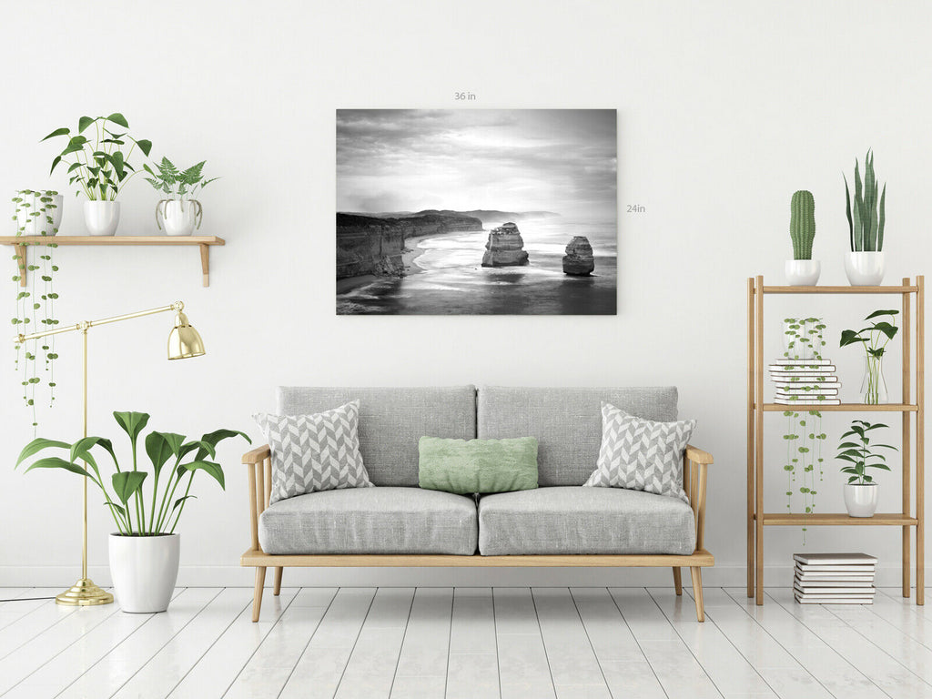 Rocks At Sea Ocean Black and White Canvas Wall Art Picture Print