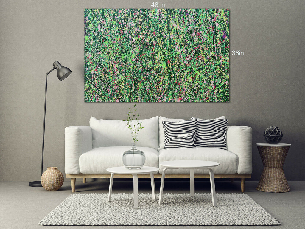 Meadow and flowers in summer Canvas Wall Art Picture Print