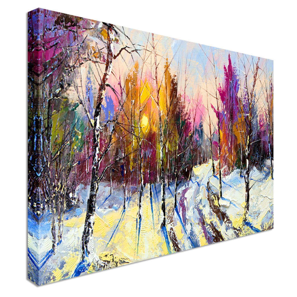Abstract Coloured Forest Canvas Wall Art Picture Print 40x20