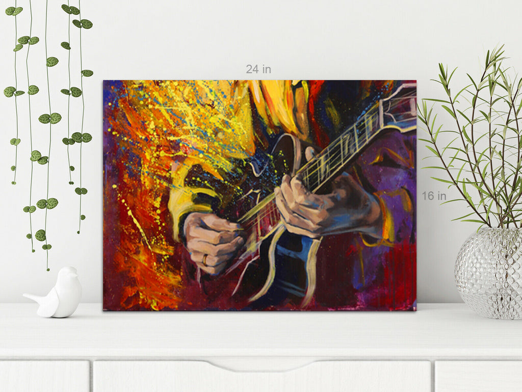 Guitar Player Oil Style Canvas Wall Art Picture Print