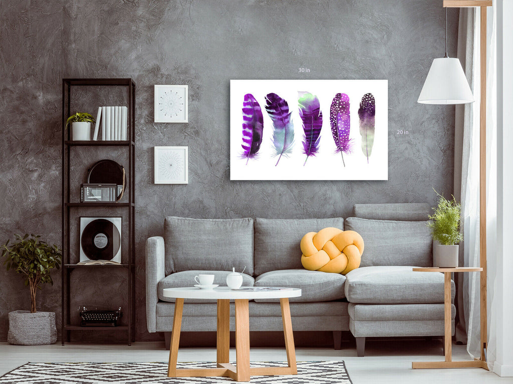Feathers Purple  Canvas Wall Art Picture Print