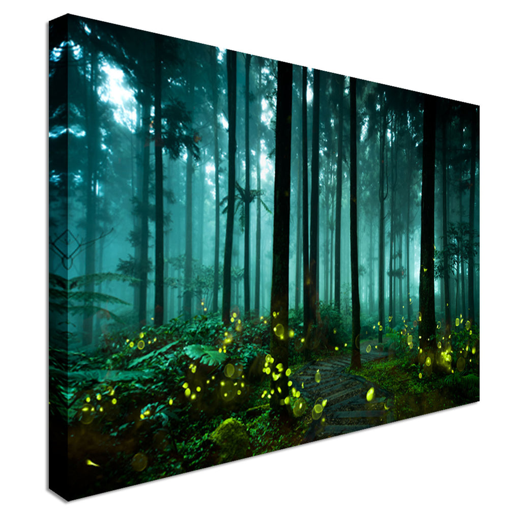 Firefly Green Forest Canvas Wall Art Picture Print