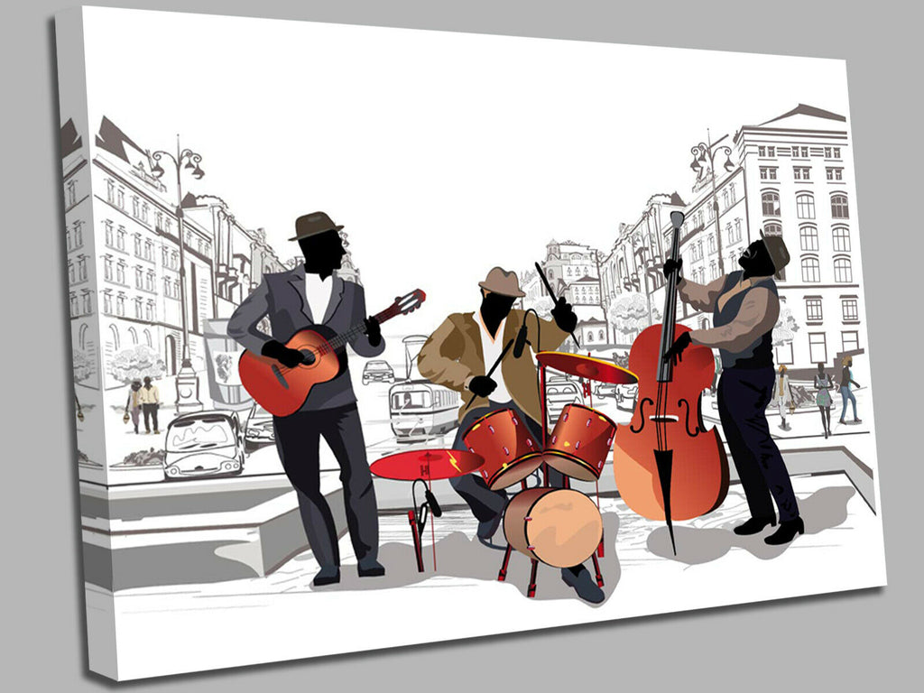 Jazz Band Stylish Trio Music Canvas Wall Art Picture Print