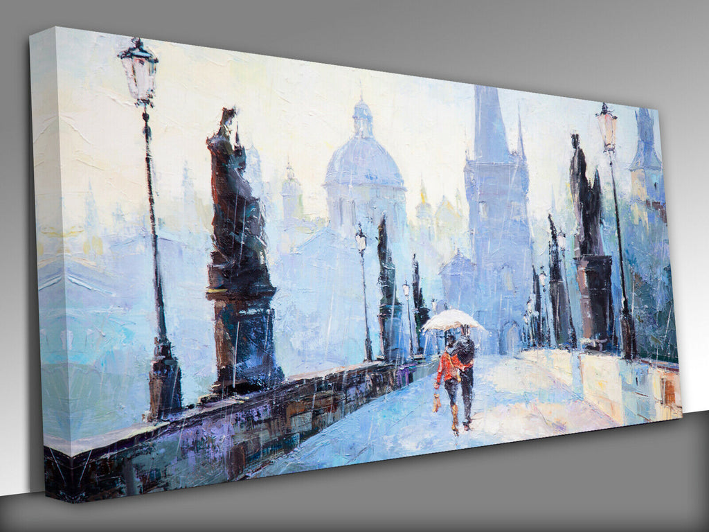 lovers on bridge Prague Charles bridge  Panoramic Canvas Wall Art Picture Print