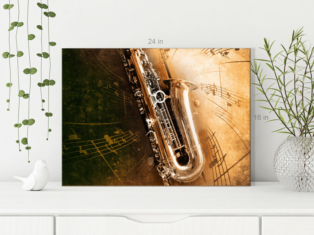 Music Saxaphone Brown Background Canvas Wall Art Picture Print