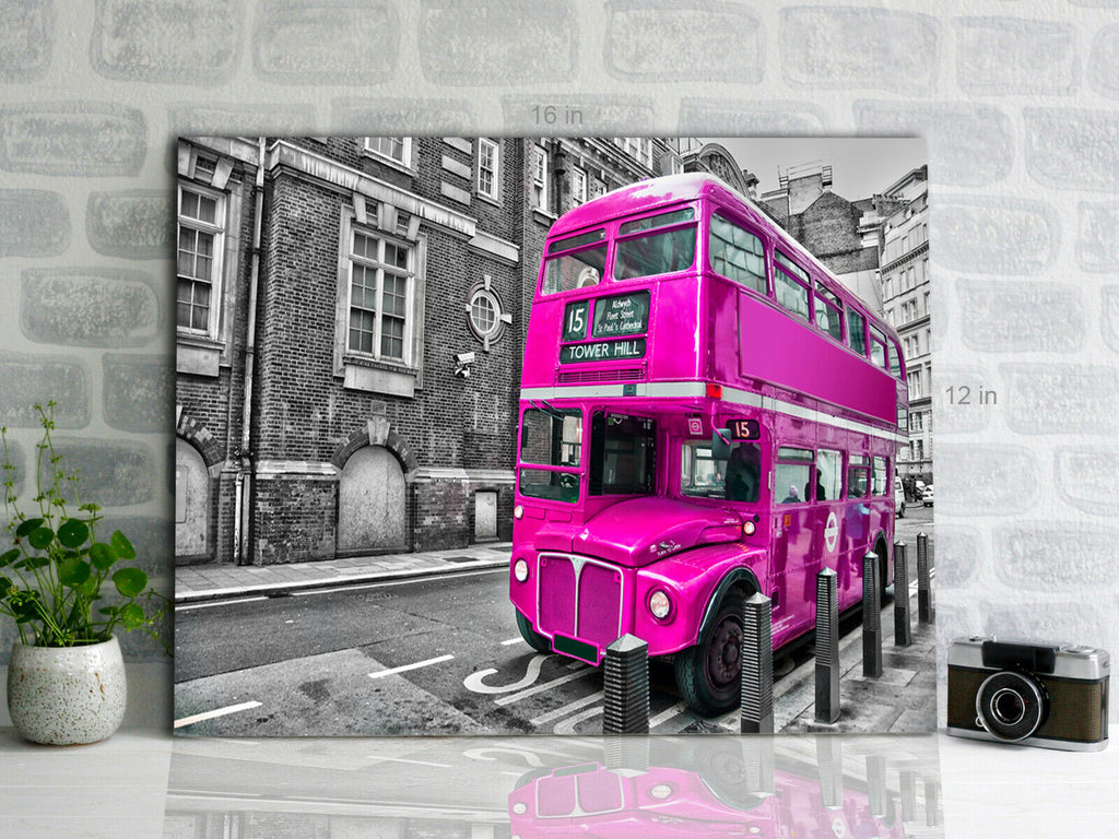 London Bus Pink Canvas Wall Art Picture Print