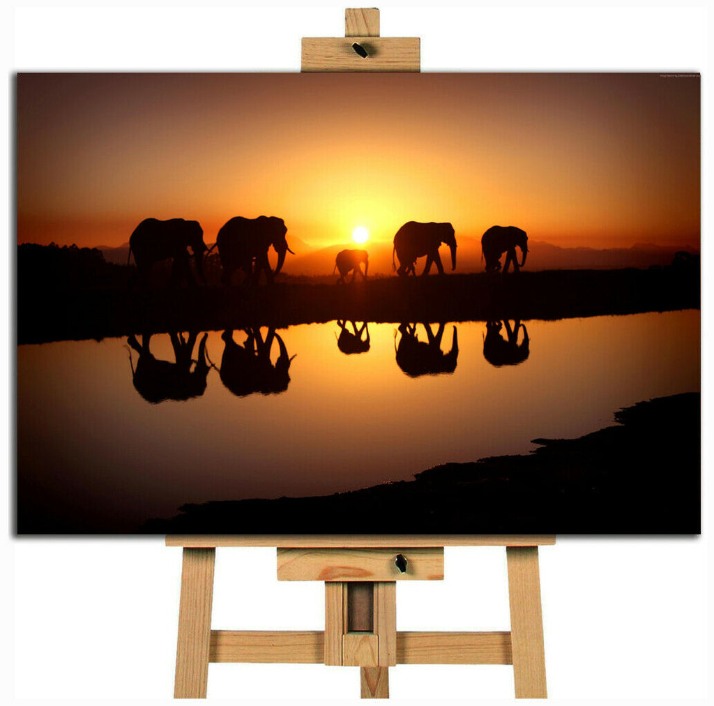 African Sunset Elephant walk parade into the sunset  canvas wall art print