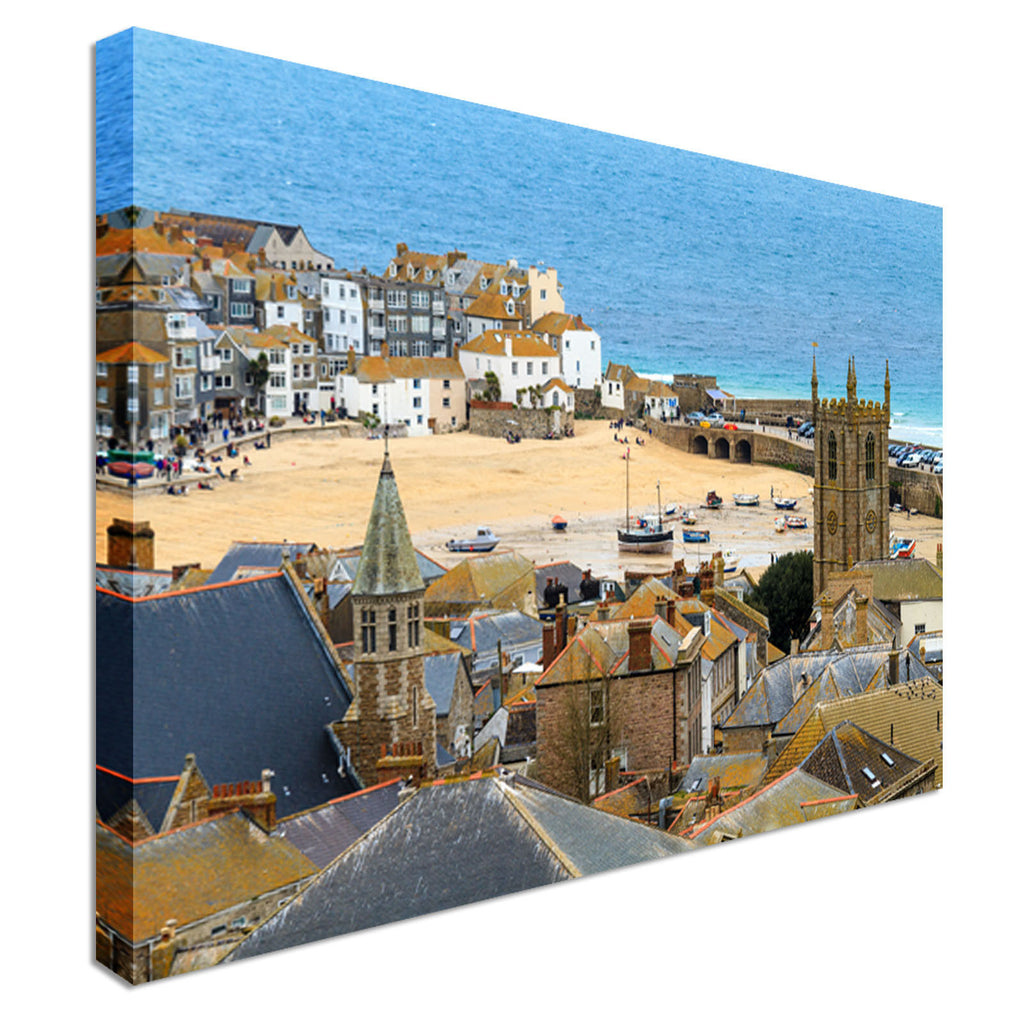 Seaside Village of St. Ives, Cornwall Canvas Wall Art Picture Print