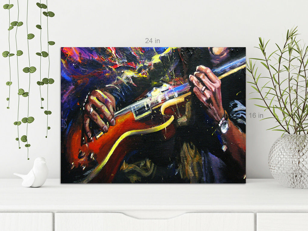 Painting of Gutiar Player CLose Up Canvas Wall Art Picture Print