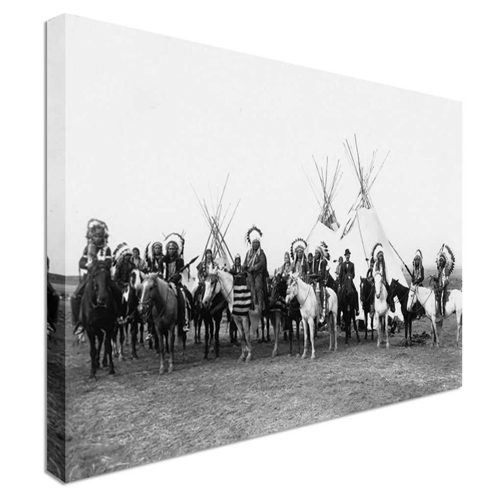 Native American indians Canvas Wall Art Picture Print