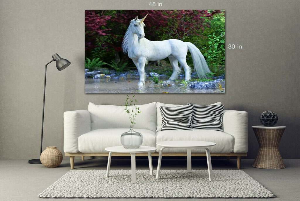 White Unicorn Forest Canvas Wall Art Picture Print