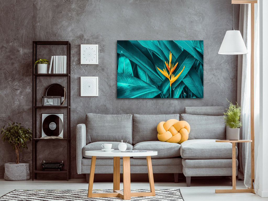 Colourful flower Tropical Leaves Canvas Wall Art Picture Print