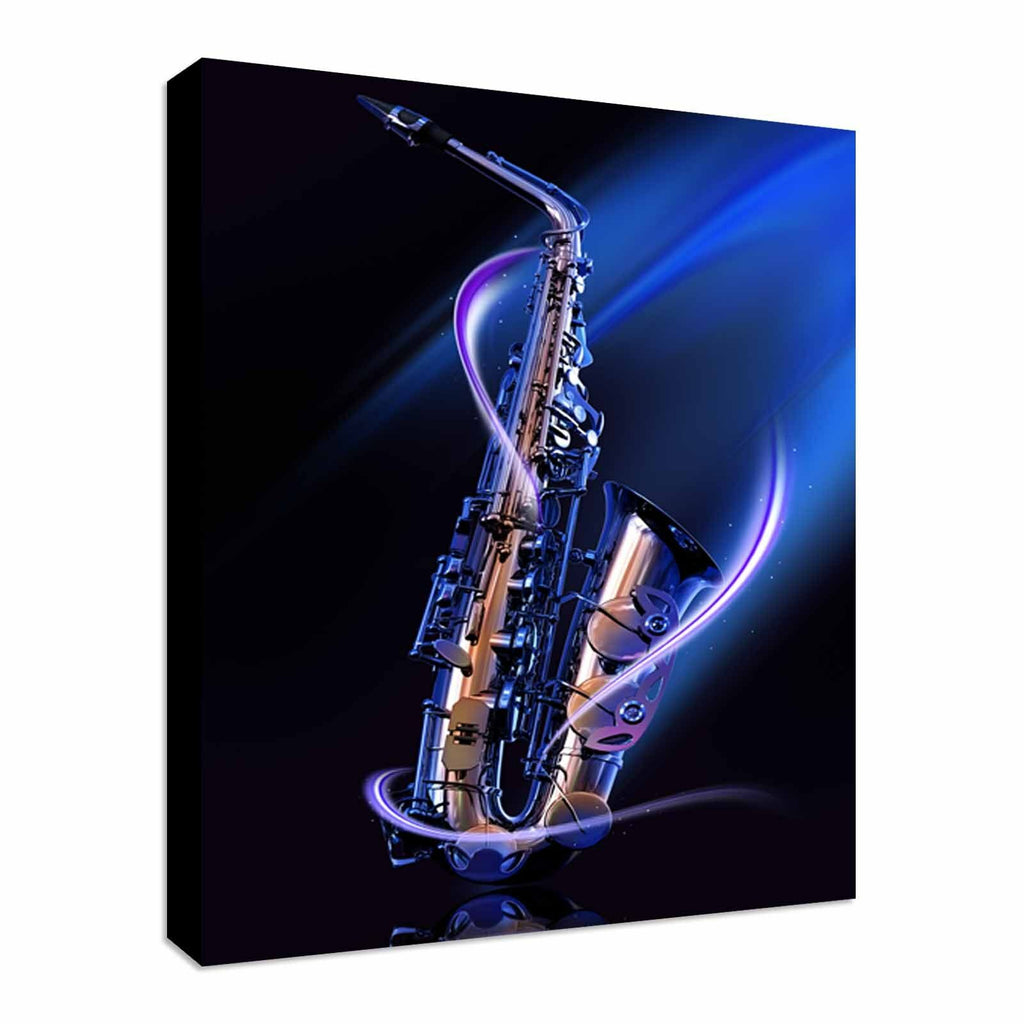 Cool Blue Saxophone Canvas Wall Art Picture Print