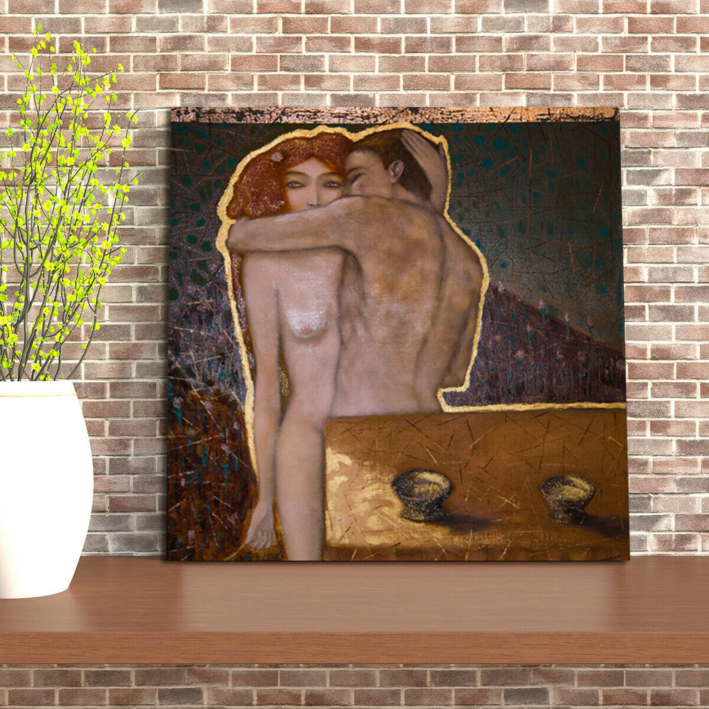 naked man and woman, oil painting Canvas Wall Art Picture Print