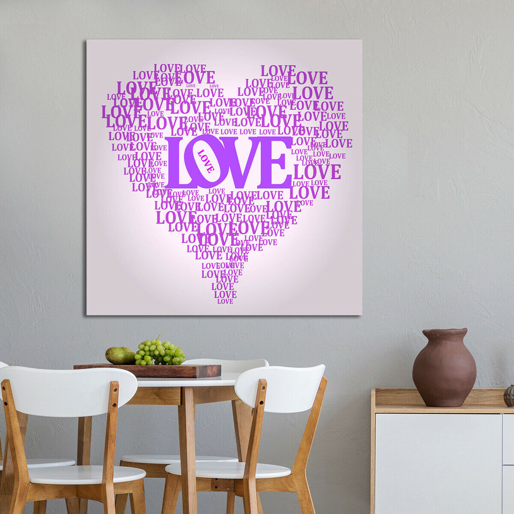 Love and heart illustration Canvas Wall Art Picture Print