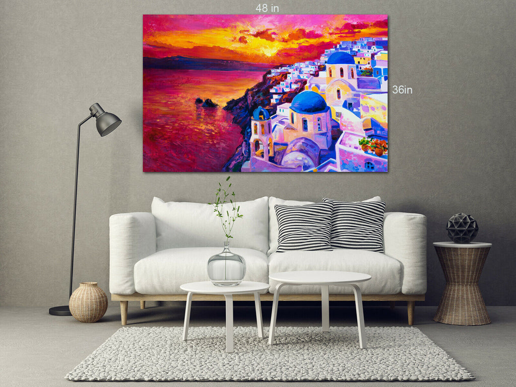 Sunset over the island Santorini Canvas Wall Art Picture Print