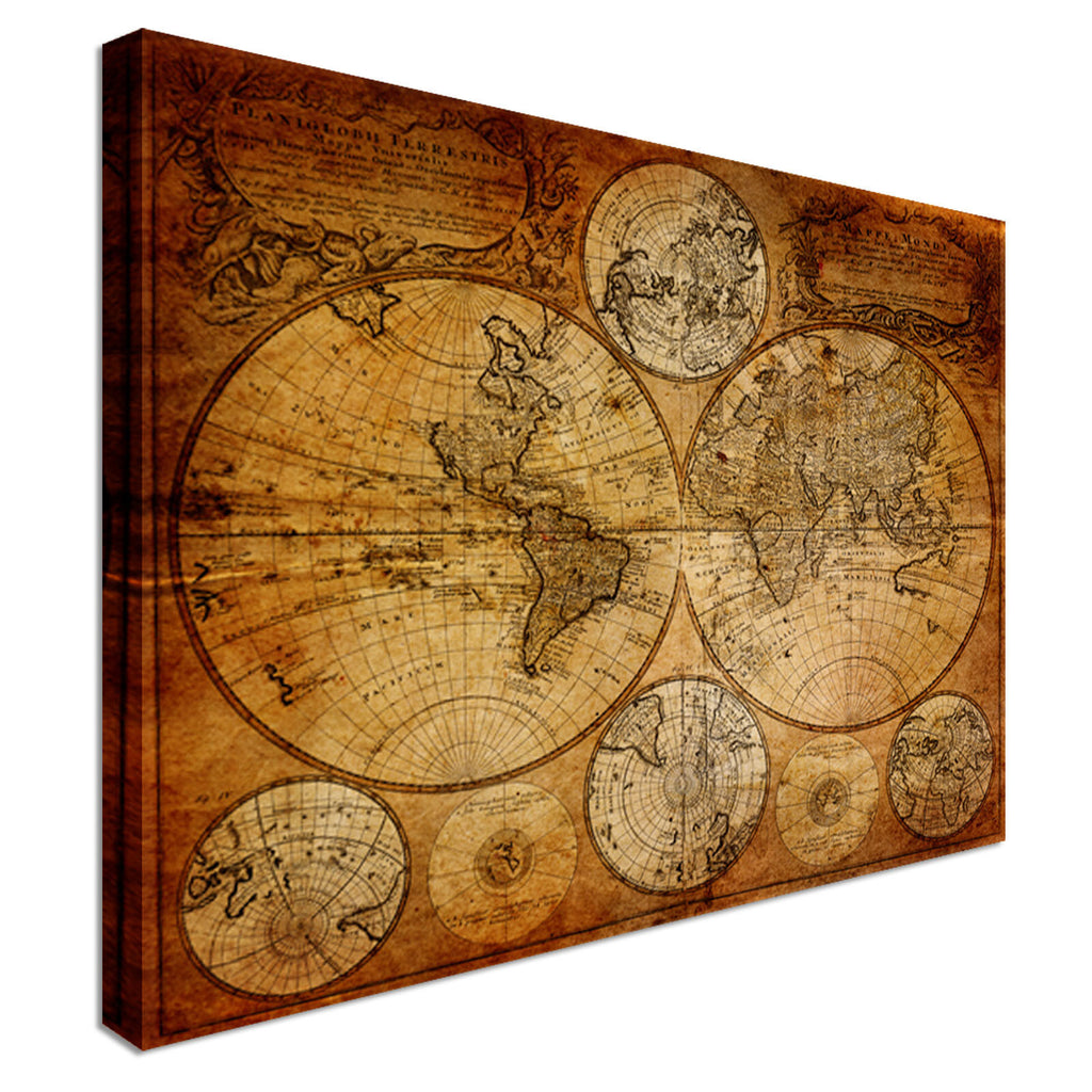 Brown Vintage Map Canvas Wall Art Picture Print