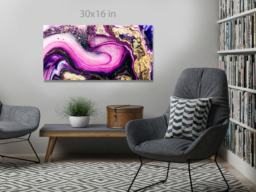 Pink Purple Abstract Panoramic Canvas Wall Art Picture Print