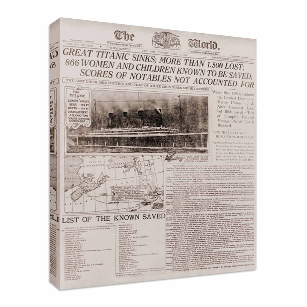 Titanic Newspaper Headlines Canvas Wall Art Picture Print