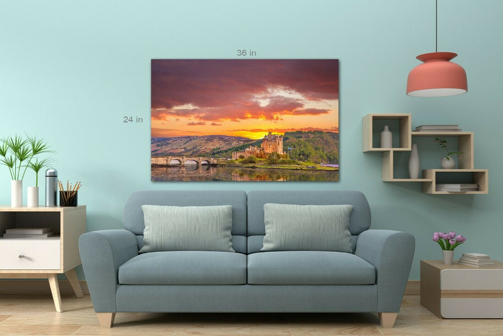 Eilean Donan Castle against sunset Canvas Wall Art Picture Print