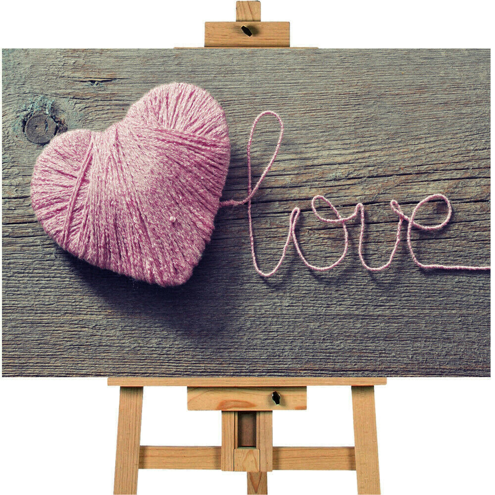 Love Pink Heart Canvas Wall Art Picture Print