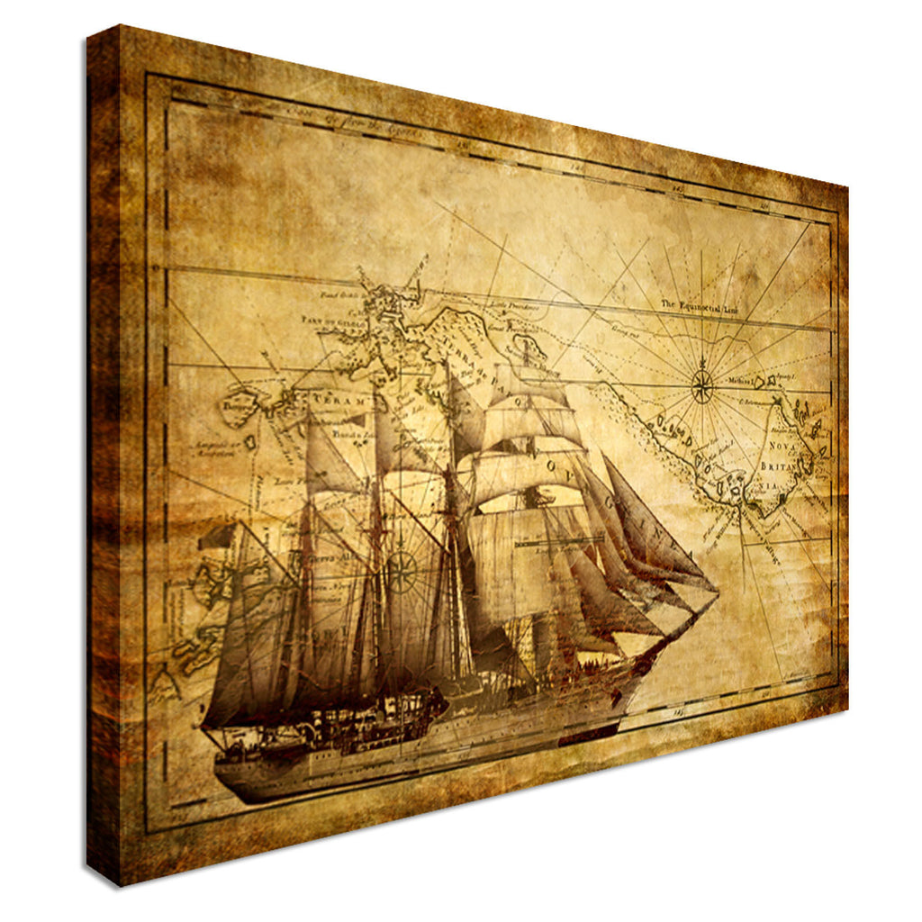 Old map and frigate ship Canvas Wall Art Picture Print