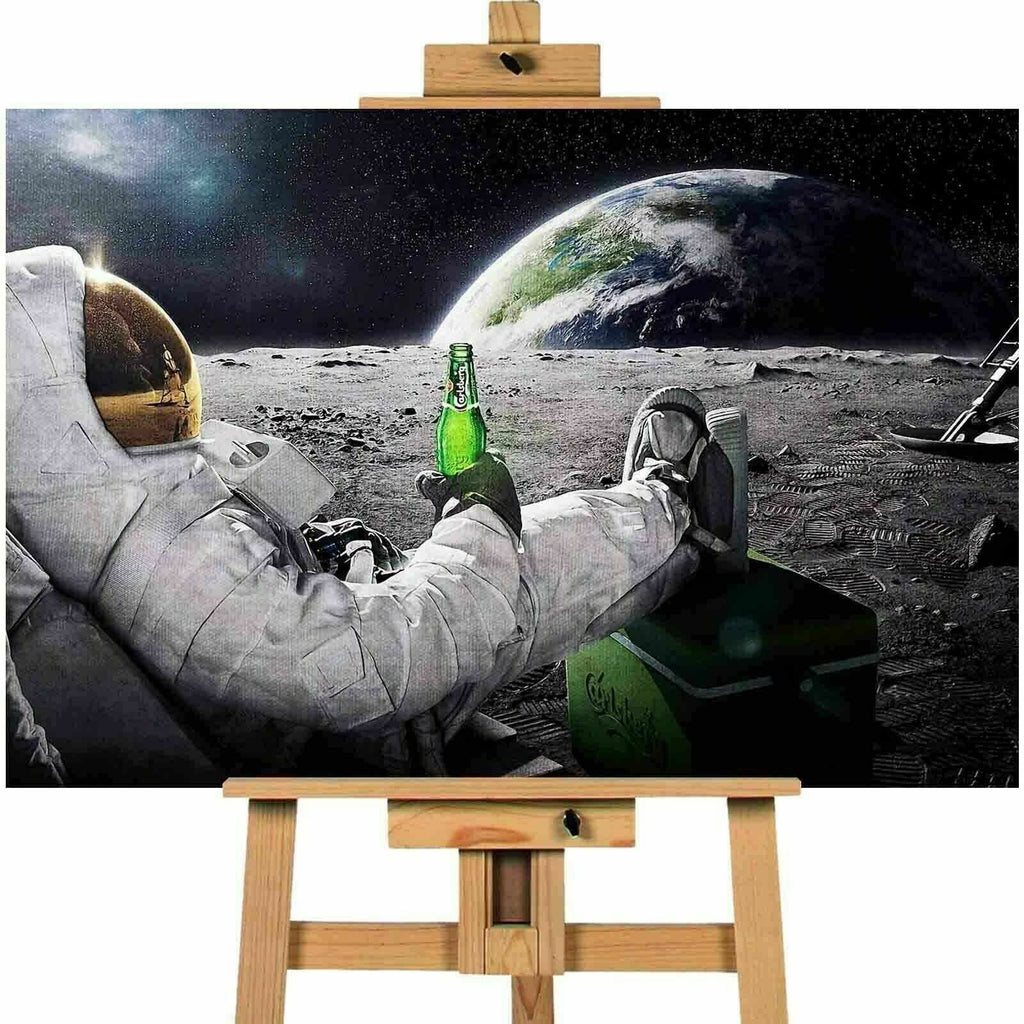 Astronaut Having A Beer Canvas Print Wall Art