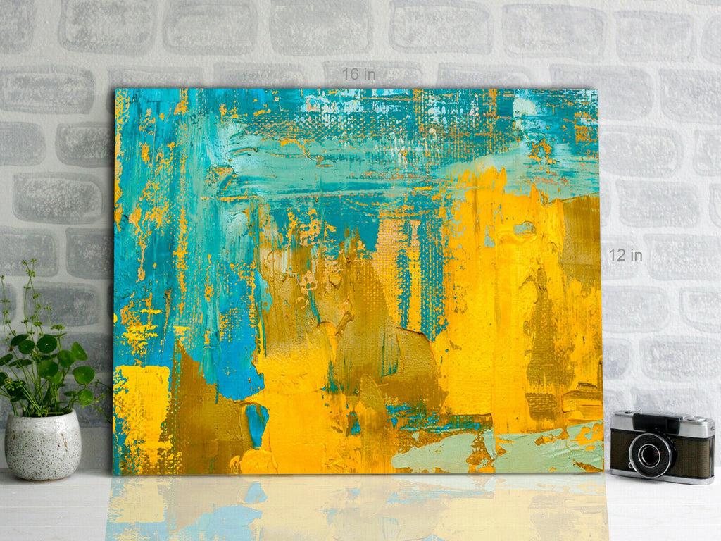 Yellow Blue Abstract  Canvas Wall Art Picture Print