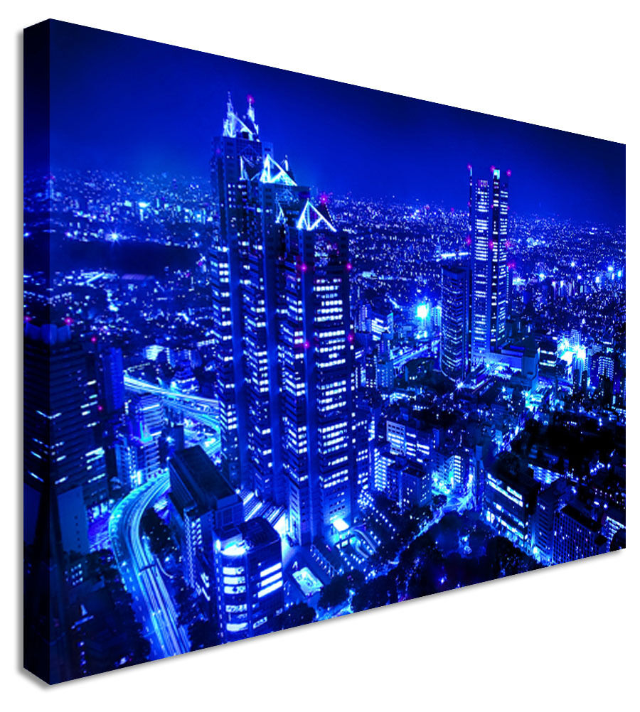Tokyo City Blue Fusion Canvas Wall Art Picture Print