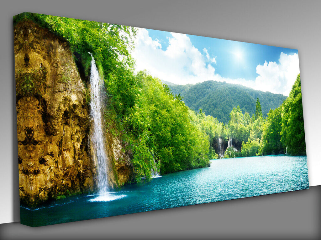 waterfall in deep forest of Croatia Panoramic Canvas Wall Art Picture Print