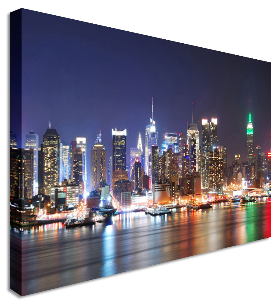 New York Rainbow Nights Canvas Wall Art Picture Print
