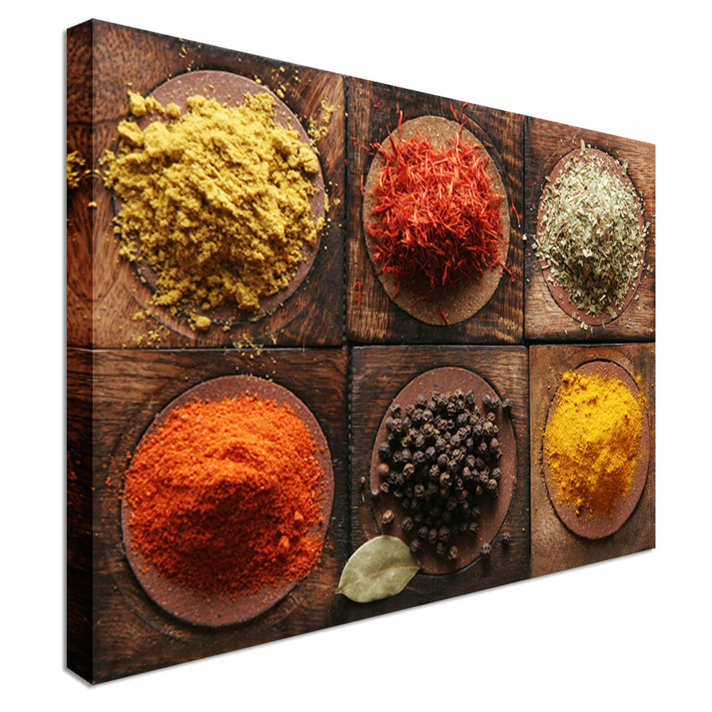 Plates of Excotic Spices Canvas Wall Art Picture Print
