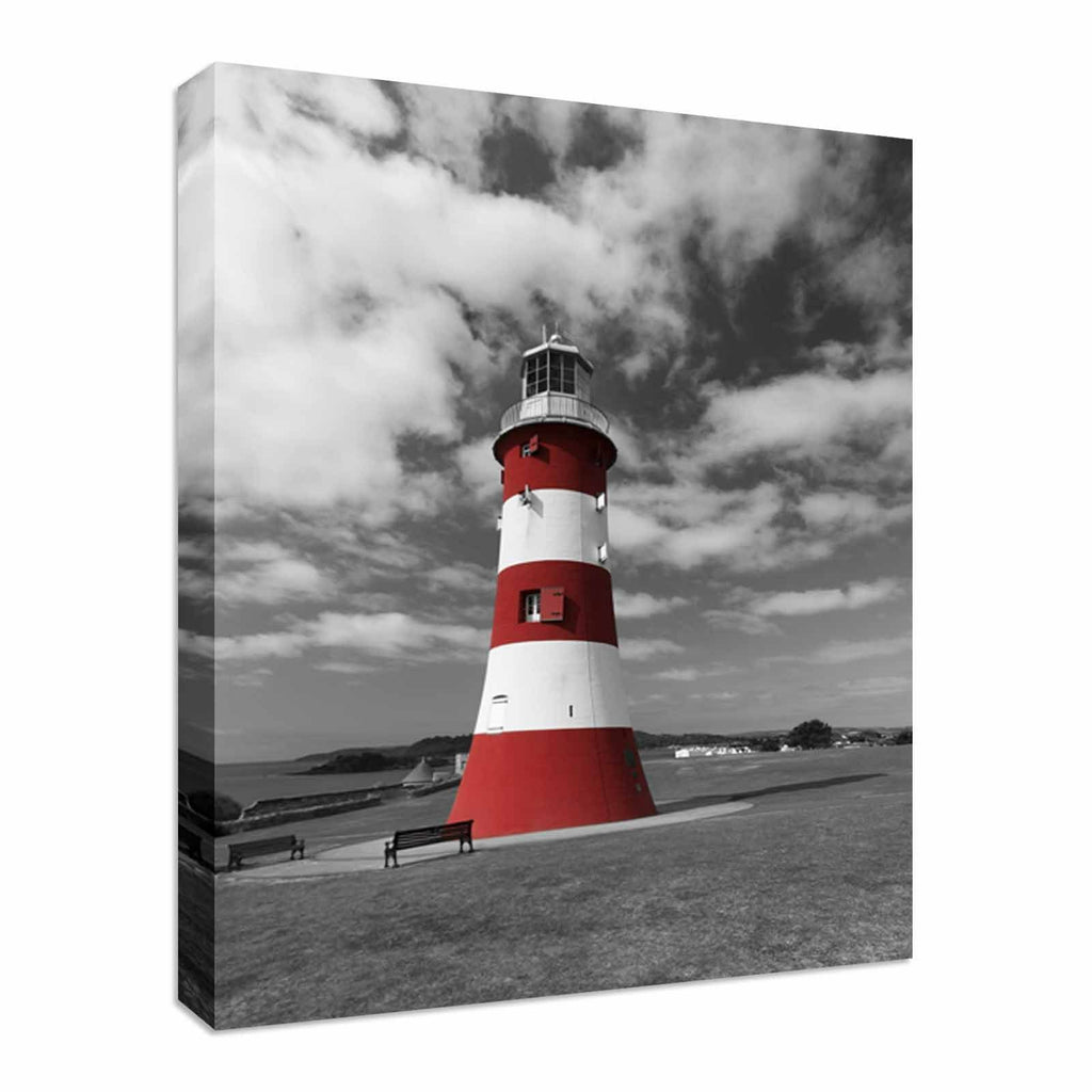 Smeaton Tower Plymouth Hoe Lighthouse  Canvas Wall Art Picture Print
