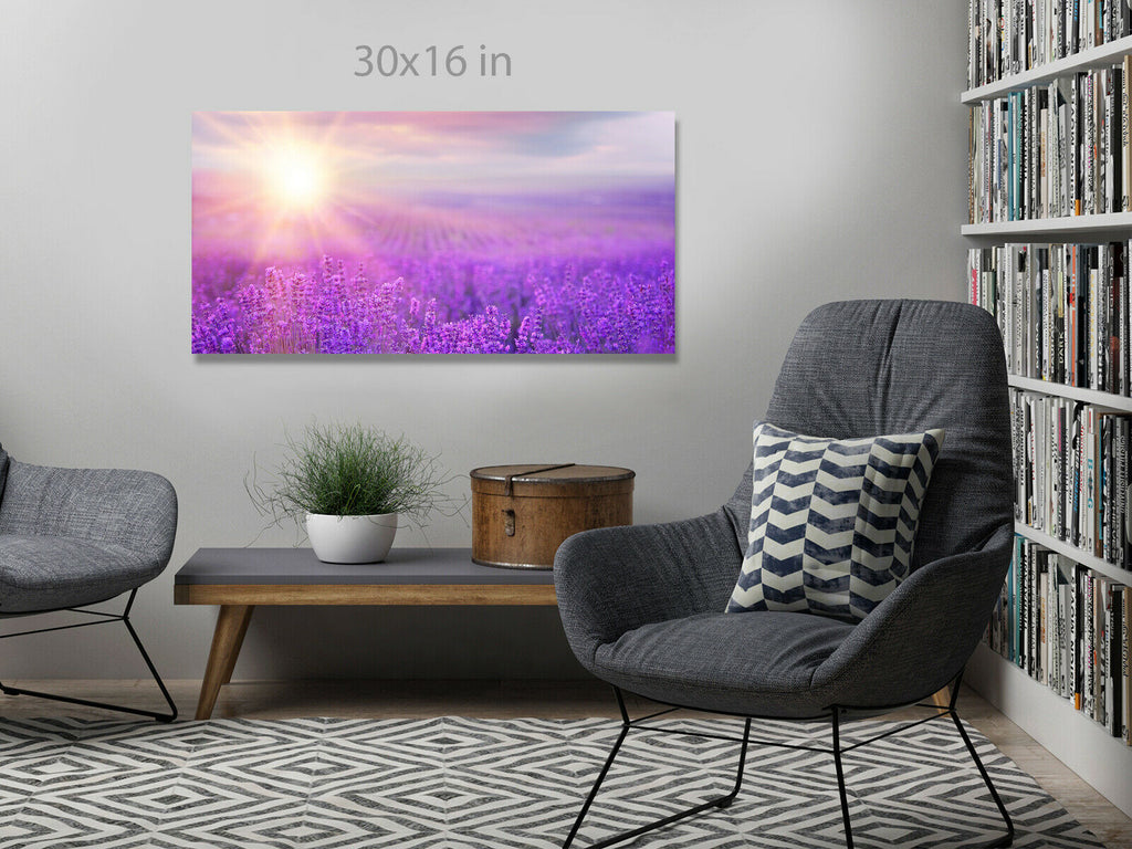 Sunset over a violet lavender field Panoramic Canvas Wall Art Picture Print