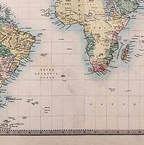 Old Map Of The World Vintage Canvas Wall Art Picture Print