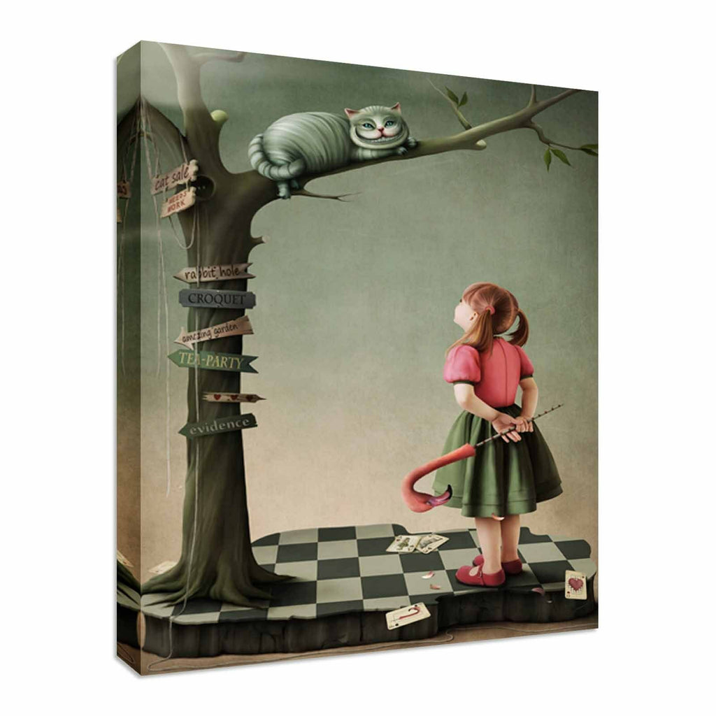 Alice In Wonderland Cat Canvas Wall Art Picture Print