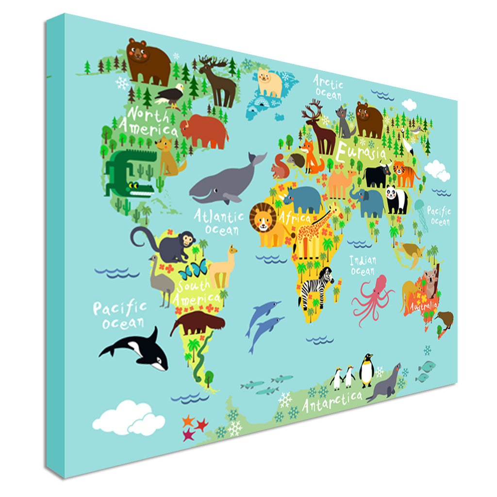 Kids Animal World Map For Children Canvas Wall Art Picture Print