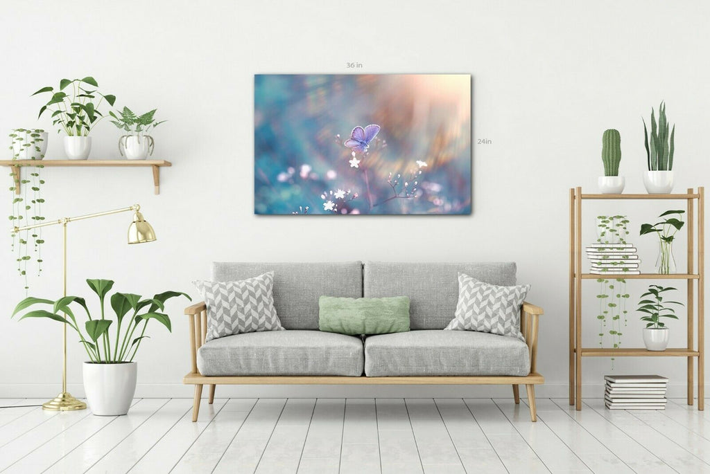 Butterfly In Calm Colours Canvas Wall Art Picture Print