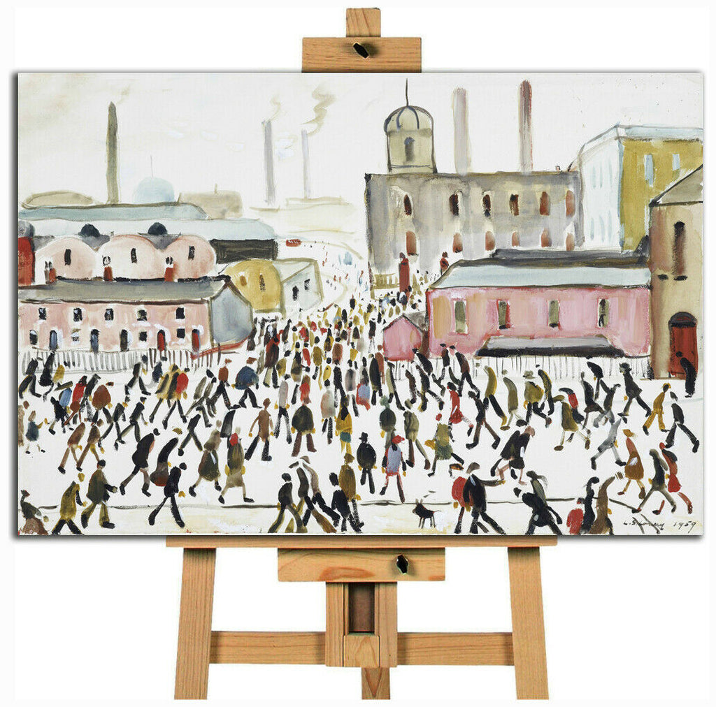 L.S. Lowry Going To Work Canvas Wall Art Picture Print