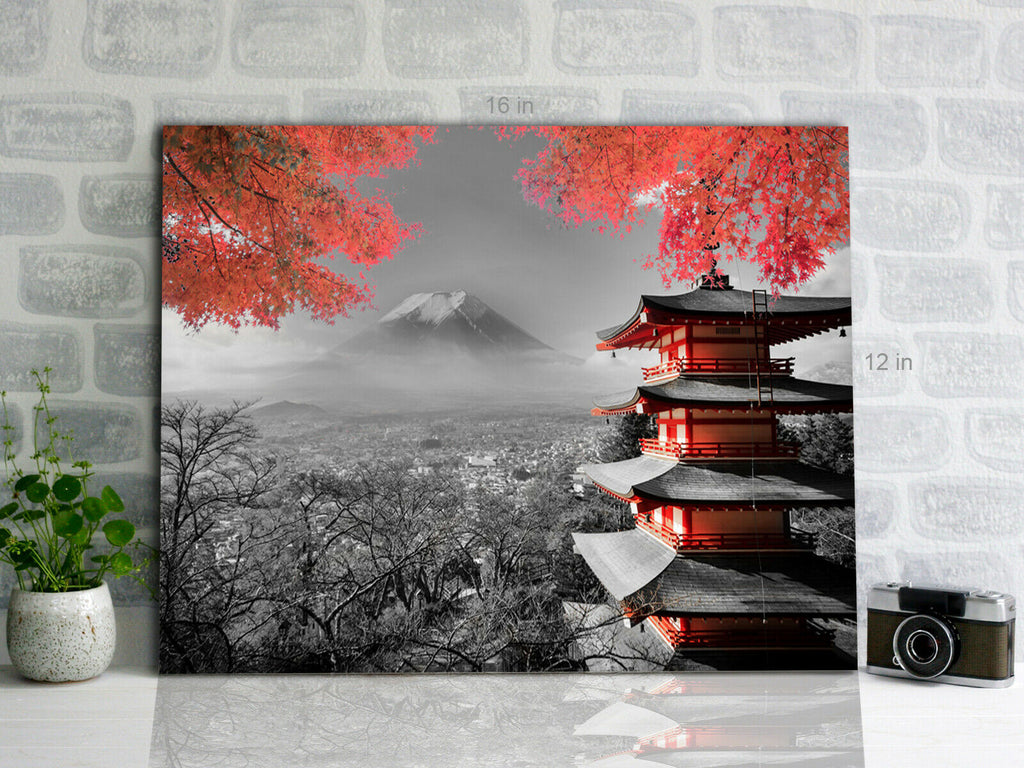 Japanese Temple red black and white Canvas Wall Art Picture Print