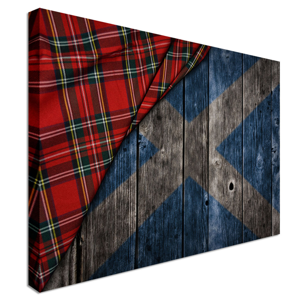 Tartan on wooden Scotland flag Canvas Wall Art Picture Print