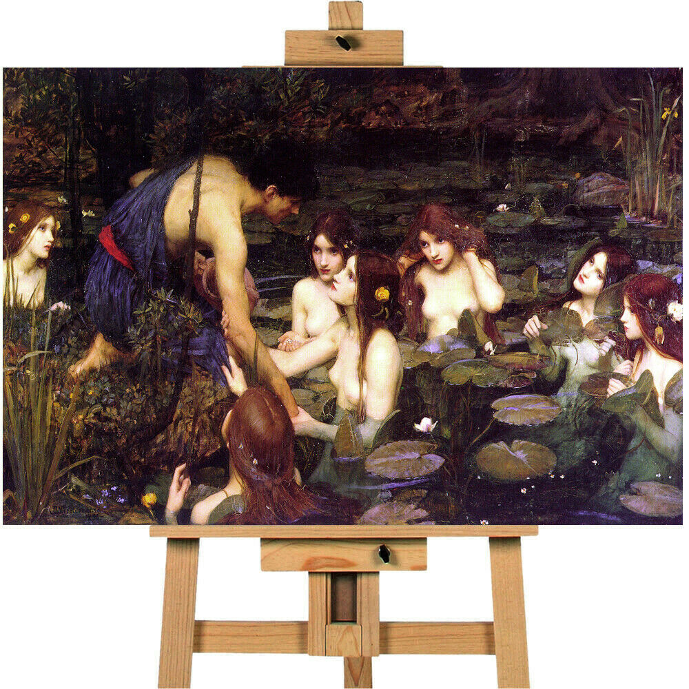 Hylas And The Nymphs John William Waterhouse Canvas Wall Art Picture Print