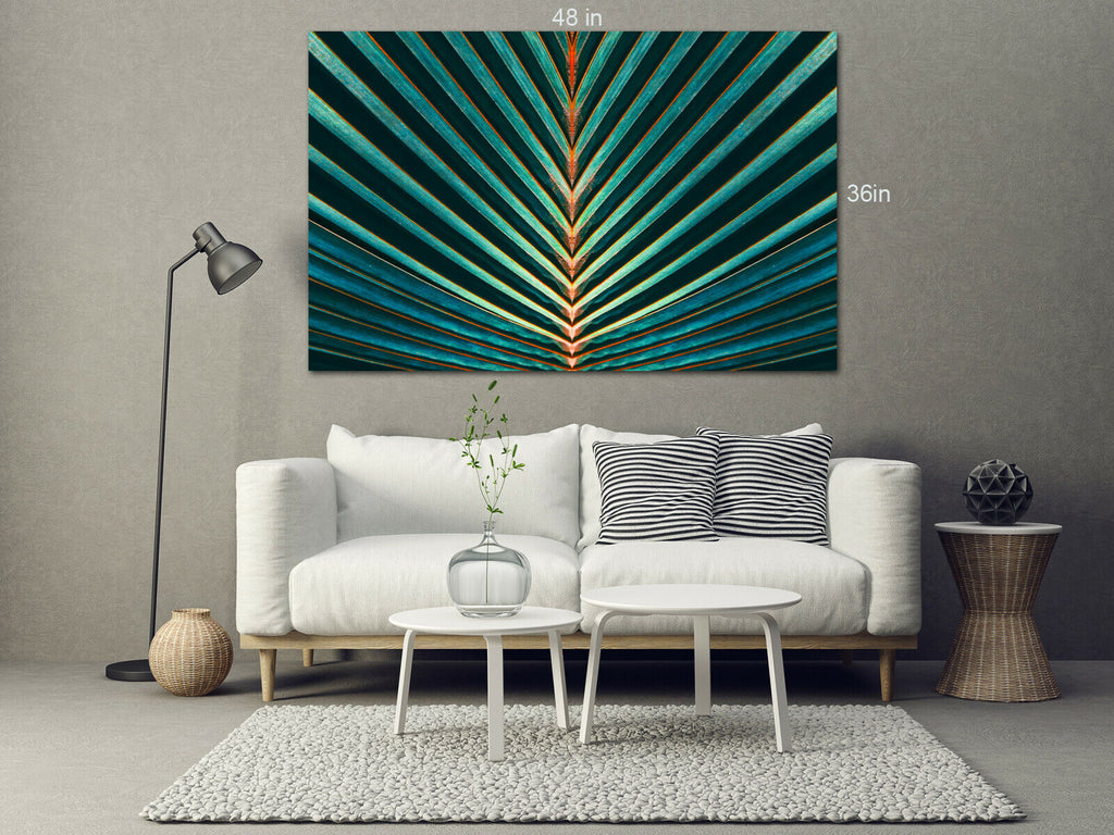 Palm leaf, Abstract green texture Canvas Wall Art Picture Print