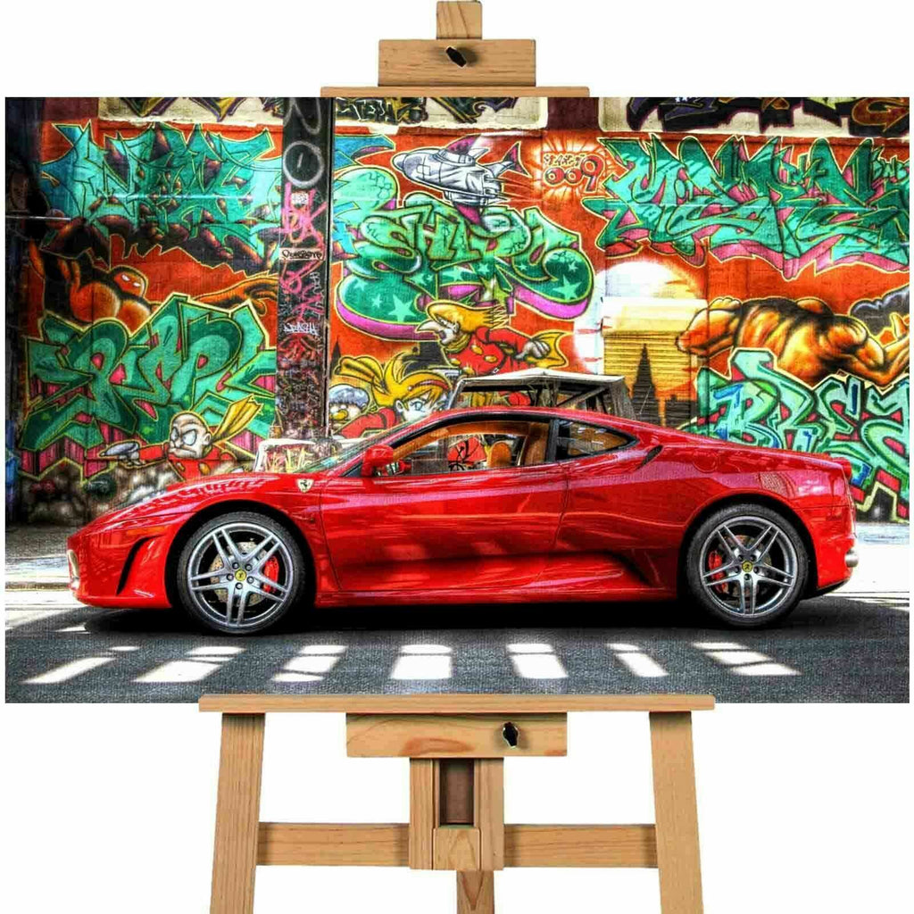 Ferrari Car Graffiti Background Canvas Print Wall Art