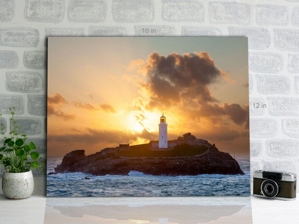 Lighthouse on Godrevy Island Cornwall  Canvas Wall Art Picture Print