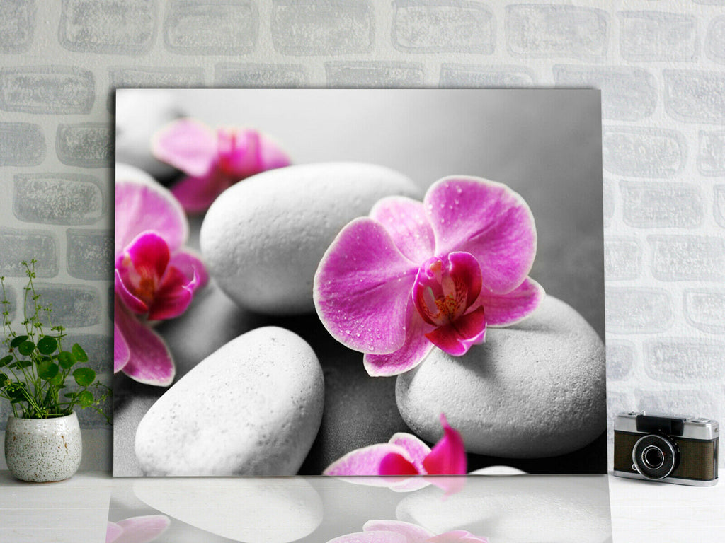 Spa stones with flowers Canvas Wall Art Picture Print