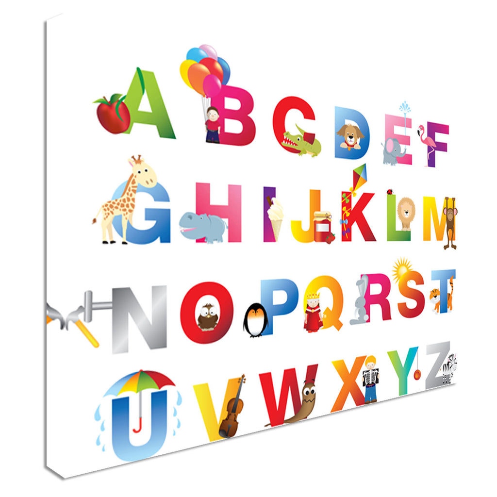 Complete Childrens English Alphabet Canvas Wall Art Picture Print