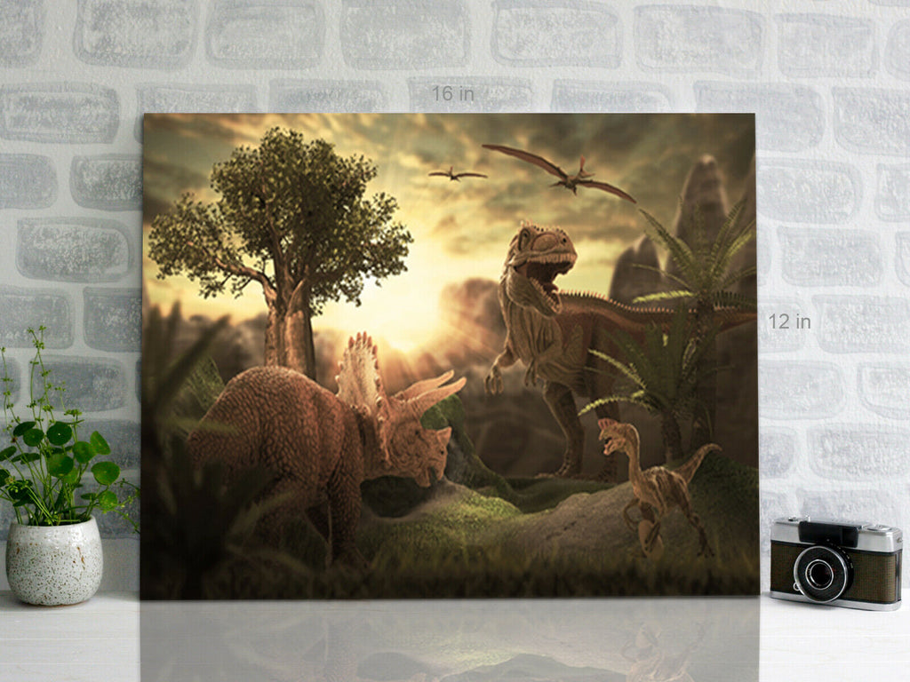 Dinosaurs Landscape Canvas Wall Art Picture Print