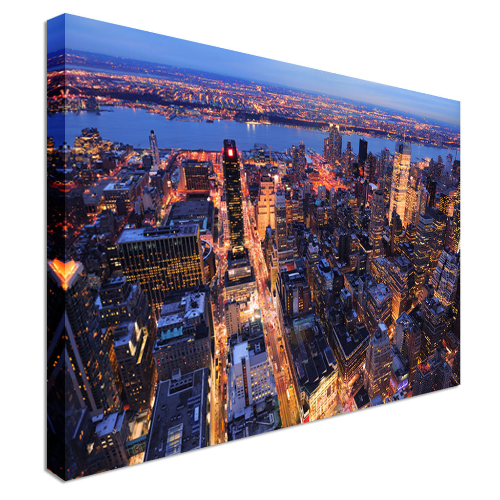 Manhattan aerial view at dusk Canvas Wall Art Picture Print